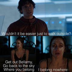 "#The100 4x13 ""Praimfaya"" - Bellamy and Echo"