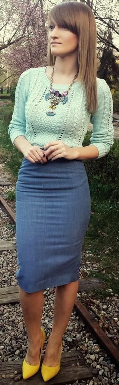 Sweater with pencil skirt