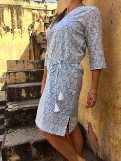Tiffany Blue Cotton block printed tunic dress - Summer House NZ
