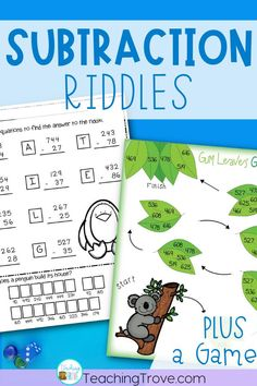 Kids love subtraction riddles! Subtracting two digit and three digit numbers will be so much fun with these self-correcting worksheets plus a game. Perfect for centers, fast finishers and sub tubs, your 2nd grade and third grade students are going to love practicing regrouping.  #subtractiongames #subtractionworksheets #subtractionwithregrouping #twodigitsubtraction