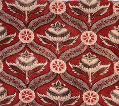 Pomegranate - - The Magazine Antiques  Textile Fragment c1760 Block printed cotton plain weave