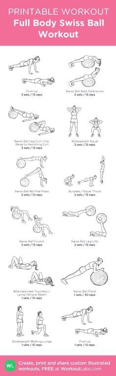 Full Body Swiss Ball Workout: my visual workout created at WorkoutLabs.com • Click through to customize and download as a FREE PDF! #customworkout