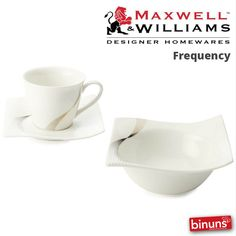 MAXWELL & WILLIAMS FREQUENCY With Binuns, Maxwell & Williams' Frequency collection is stylish, fine porcelain with a flowing modern look and subtle metallic pattern. Excellent for everyday use.   http://www.binuns.co.za/en-za/brands/maxwellwilliams/frequency.aspx