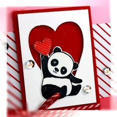 Here& another card using the Party Pandas stamp set. I used an embossed background an. Homemade Birthday Cards, Happy Birthday Cards, Homemade Cards, Valentine's Cards For Kids, Cards For Friends, Valentines Greetings, Valentine Day Cards, Fun Fold Cards, Love Cards