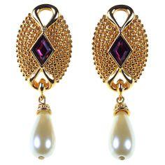 Buy Alice Joseph Vintage 1980s Swarovski Pearl Drop Earrings, Purple Online at johnlewis.com