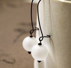 White Hand Blown Glass Earrings Glass Dangle by SaraBernhart, $18.50