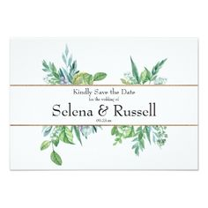 Green and Gold Spring Foliage Save the Date Card - gold wedding gifts customize marriage diy unique golden