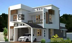 House Elevation, Front Elevation, Front Wall Design, Modern House Design, Modern Houses, House With Balcony, Duplex House, Affordable Housing, New Home Designs