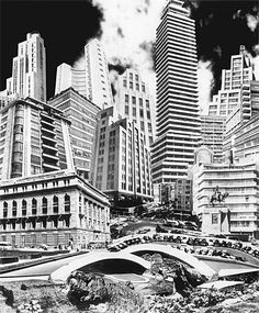 Foto Montaje de Lola Alvarez Bravo. Titulado Anarquia Arquitectonica de la Ciudad de Mexico (1953).