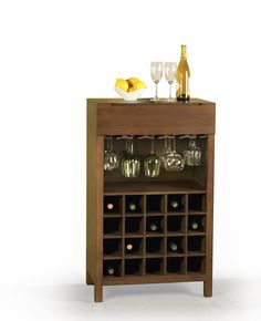 Greenington Orchid wine cabinet offers plenty of wine storage, racks for your stemware and a handy drawer for accessories.