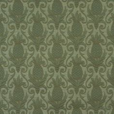 "54"" E525 Green, Pineapple Jacquard Woven Upholstery Grade Fabric By The Yard"