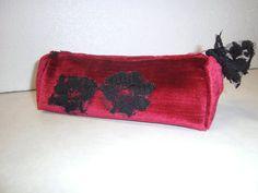 universaltäschchen,rot,samt,handmade
