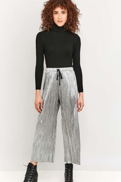Light Before Dark Pleated Silver Wide-Leg Trousers