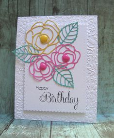 (MFT idea...) supplies: white cardstock, my own polished stone papers, Simon's Elegant Roses dies and It's Your Birthday stamps, DieNamics Layered Leaves, Taylored Expressions Garden Party embossing folder, Winnie & Walter Audrey's Cutaways scalloped rectangle, Doodlebug enamel dots