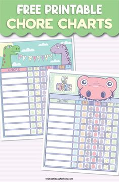 Choose from 6 free printable chore charts for kids - from dinosaur to mermaid designs. Tips for how to use the chore charts with kids included. Preschool Chore Charts, Chore Chart For Toddlers, Reward Chart Kids, Charts For Kids, Kindergarten Worksheets, Chore Chart Template, Free Printable Chore Charts, Free Printables, Printable Chore Cards