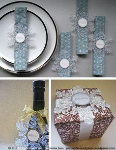 Napkin rings: plastic snowflakes