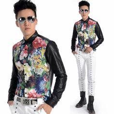 Men Black Floral Long Sleeve Vintage 70s Style Hipster Dress Shirts SKU-11407272