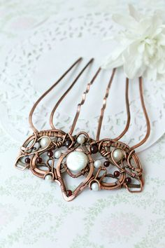 Wire wrap comb copper comb crown hairpin by LenaSinelnikArt