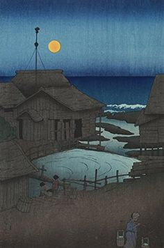 "Japanese Art Print ""Full Moon at Mutsu (Mutsu, Mishima-Gawa)"" from the Series ""Souvenirs of Travels (1st Series)"" by Kawase Hasui. Shin Hanga and Art Reproductions http://www.amazon.com/dp/B00YSIUM1W/ref=cm_sw_r_pi_dp_4EMswb1CCYT8Q"