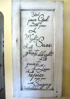 script on rustic-ed cabinet door. like it. a lot. Maybe good idea for pantry door, could also use newsprint.