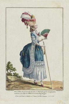 """""""Demoiselle à la promenade du matin, en Polonoise garnie en tuyaux, deux montres a ses cotés et coeffée d'un nouveau Pouf elegant"""", Gallerie des Modes, 1778; MFA 44.1318"""