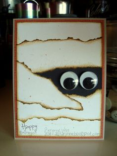 Happy Halloween - Mummy Card - Scrapbook.com.  This would make a cute bulletin board or door decoration!