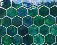 Dream House Nyc, Green Tile Backsplash, Ceramic Tile Bathrooms, Hexagon Mosaic Tile, Unique Tile, Glazed Tiles, Feature Tiles, Brick Tiles, Hexagon Shape