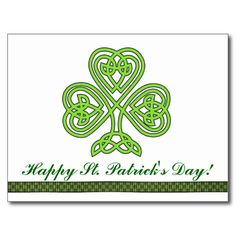 #StPatrick'sDay #Shamrock #Clover #Green #4Leaf Pattern #Luck #Irish #Ireland #pride #postcard Green colored Clover 3-leaf pattern for St. Patrick's Day. The image is available for a variety of products.