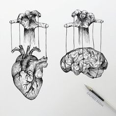 Black and White Surreal Drawings Heart and Brain Manipulation. Diverse Black and White Surreal Drawings. By Alfred Basha.Heart and Brain Manipulation. Diverse Black and White Surreal Drawings. By Alfred Basha. Sketchbook Drawings, Pencil Art Drawings, Tattoo Drawings, Drawing Sketches, Drawing Tips, Heart Pencil Drawing, Drawing Ideas, Black Pen Drawing, Black And White Art Drawing
