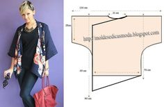 Rebekah Graves via Mari Cruz to Sewing. Kimono style schematic for cardigan Sewing Hacks, Sewing Tutorials, Sewing Crafts, Techniques Couture, Sewing Techniques, Sewing Patterns Free, Clothing Patterns, Sewing Blouses, Couture Sewing