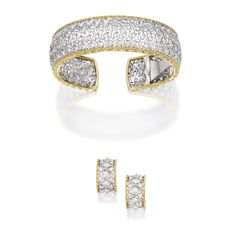 PROPERTY FROM THE COLLECTION OF MARIA MONET MARKOWITZ 18 Karat Two-Color Gold and Diamond Bracelet and Earclips, Buccellati The cuff-bracelet of openwork design, set with round diamonds weighing 4.55 carats; together with a pair of earclips of similar design, set with round diamonds weighing .85 carat.