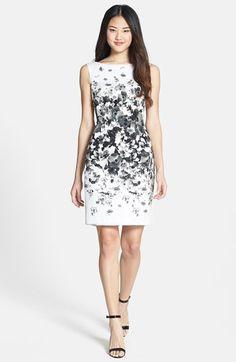 Maggy London Print Bateau Neck Cotton Sheath Dress (Regular