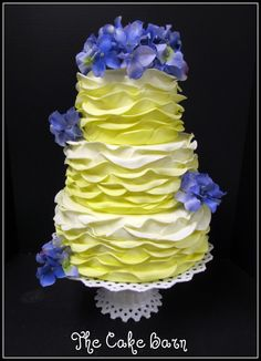 Shades of Yellow Frills — Round Wedding Cakes