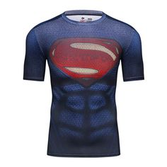 8148fcb7b494 Awesome Rashguard Short Sleeve Tee Shirt Crossfit Man of Steel kal-el  Superman DC –