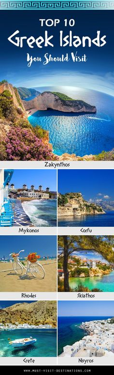 TOP 10 Amazing Greek Islands You Should Visit - Must Visit Destinations Las 10 mejores islas griegas Vacation Destinations, Dream Vacations, Vacation Spots, Greece Destinations, Vacation Trips, Vacation Resorts, Top Vacations, Summer Vacations, Amazing Destinations