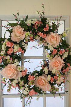 Front Door Wreath-Summer Wreath-Wedding by LauraMeyerDesigns