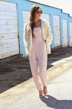Shag Jacket + Blush Pink Jumpsuit with Rose Gold accessories on For All Things Lovely - www.forallthingslovely.com