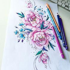 #peony #tattoopins #tattoo2me #tattooflash #tattsketches #tattoo #flowers #flowerstattoo эскиз занят
