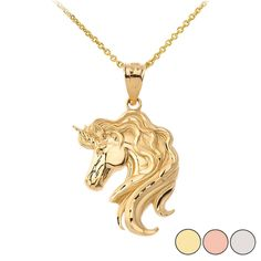 Mythical Unicorn Pendant Necklace in Gold (Yellow/ Rose/White) Gold Necklace, Pendant Necklace, Fantasy Jewelry, Yellow Roses, Timeless Design, Unicorn, Pendants, Pure Products, Jewels