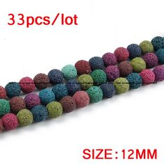 Colourful Lava bead srainbow Natural Stone Volcanic rock Top quality Round Loose beads ball 6/8/10/12MM Jewelry bracelet making