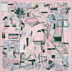 """100% silk twill scarf, hand-rolled (90 cm x 90 cm) """"Modernisme Tropical"""""""