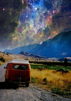 VW camper van bus road, mountains, sky