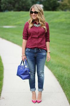 Pink Polka Dots and distressed denim...click through for more casual outfit ideas!