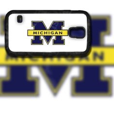 Michigan University Blue and White Design on Samsung Galaxy S5 Black Rubber Silicone Case by EastCoastDyeSub on Etsy https://www.etsy.com/listing/196342922/michigan-university-blue-and-white