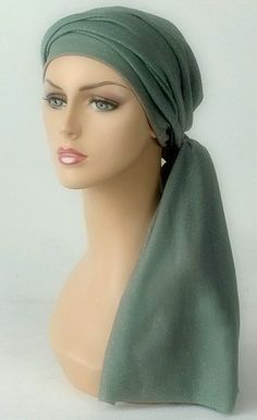 Sage & Silver Turban Set  - learn the triple knot on another picture, this is pretty