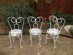 Children's iron chairs, ready for a tea party