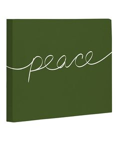 Take a look at this Green & Ivory 'Peace' Canvas by OneBellaCasa on today! World Peace Day, Ivory, Take That, Invitations, Canvas, Green, Home Decor, Tela, Decoration Home