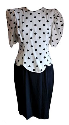 1980s Vintage Black & White Polka Dot Cocktail Dress Size 10