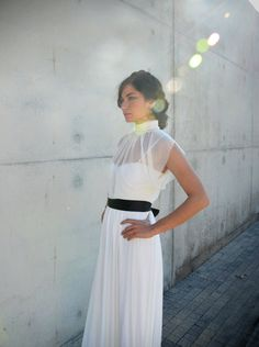 Chic and modern wedding dress with sheer top and black by Barzelai