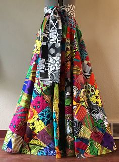 The pictures dont really do this skirt service. This is a full circle cut patchwork skirt handmade from over 600 African Wax print fabric squares. African Print Dresses, African Print Fashion, African Fashion Dresses, African Dress, Fashion Prints, African Print Skirt, African Prints, Estilo Hippie, African Attire